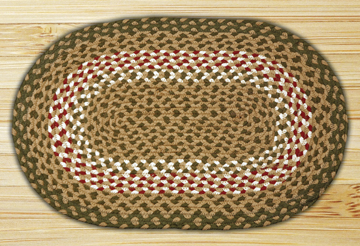 20 x 30 inch Green/Burgundy Oval Jute Rug, by Capitol Earth Rugs.