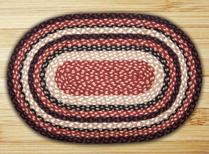 Burgundy, Black, & Tan Oval Jute Rug, by Capitol Earth Rugs