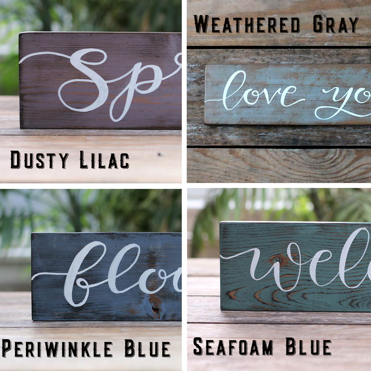 Colors - Lilac, Weathered Gray, Periwinkle, Seafoam