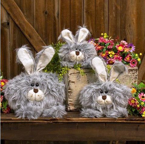 Roly Poly Fuzzy Gray Bunny Dolls