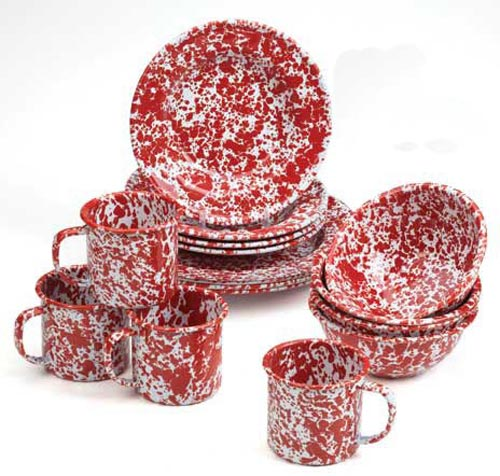 Loaf Pan Enamelware - Red Marble