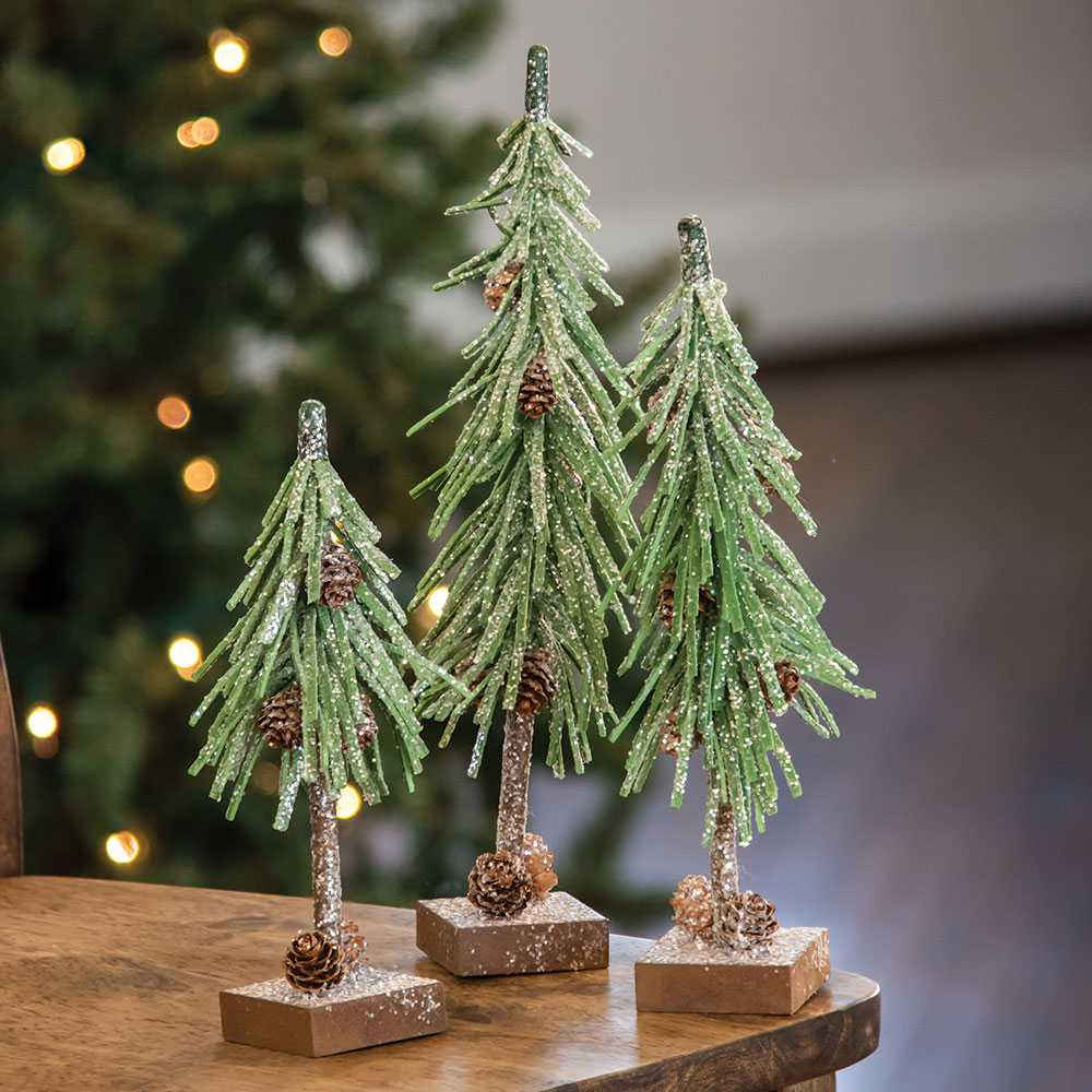 Glittered Pine Trees with Cones