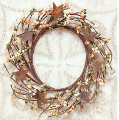 Fall Mix Pip Berry Candle Ring with Stars