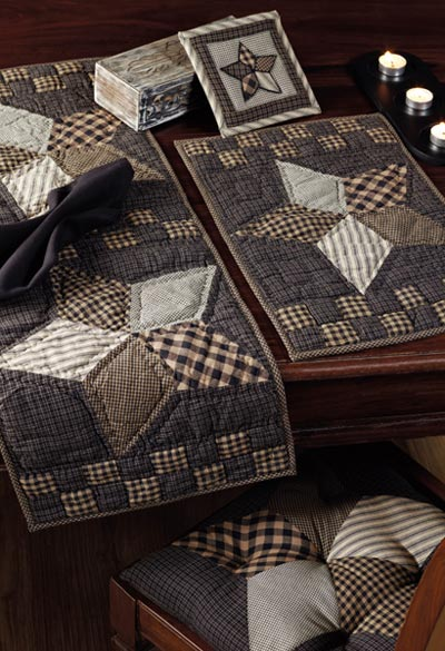Farmhouse Star Quilted Placemats, by Victorian Heart