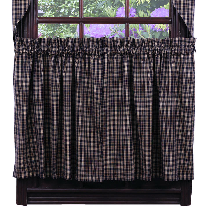 Cambridge Navy 36 inch Cafe Curtains, by Olivia's Heartland
