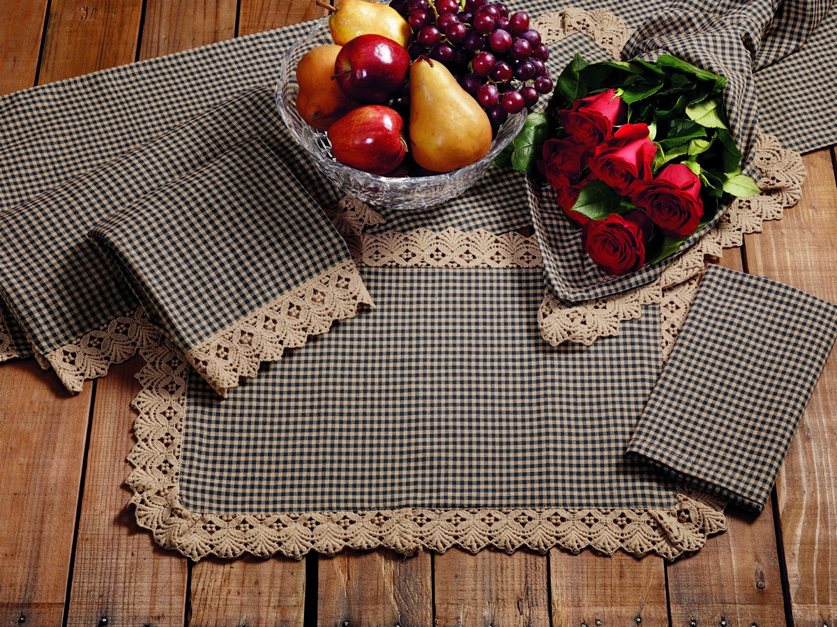 Ava Black Check 36 inch Table Runner.