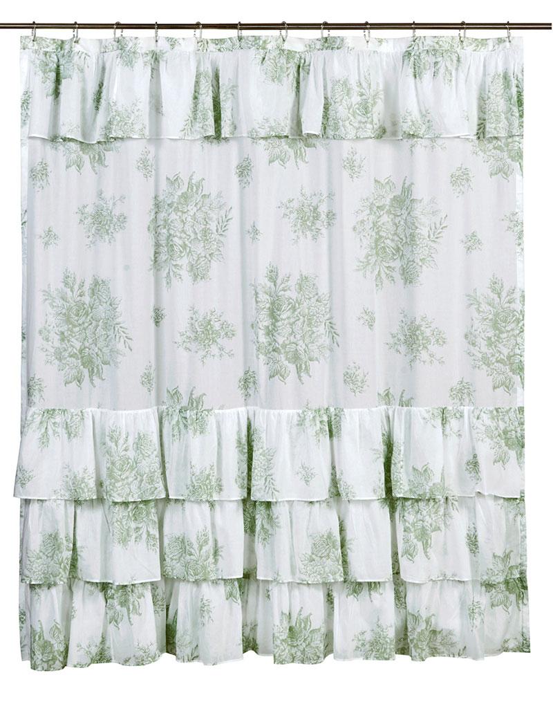 Green shower curtains - Josephine Sage Shower Curtain