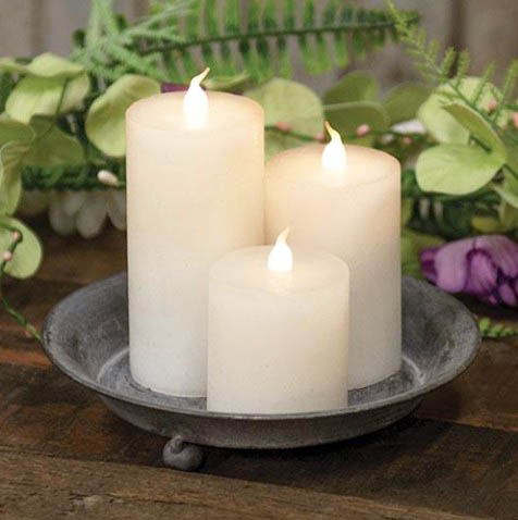 Slim White Battery Pillar Candles