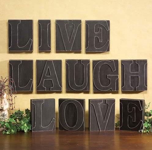 Live, Laugh, Love Giant Printer\'s Blocks (set of 3)