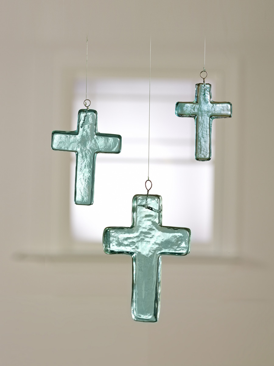 Blue Glass Cross Ornaments
