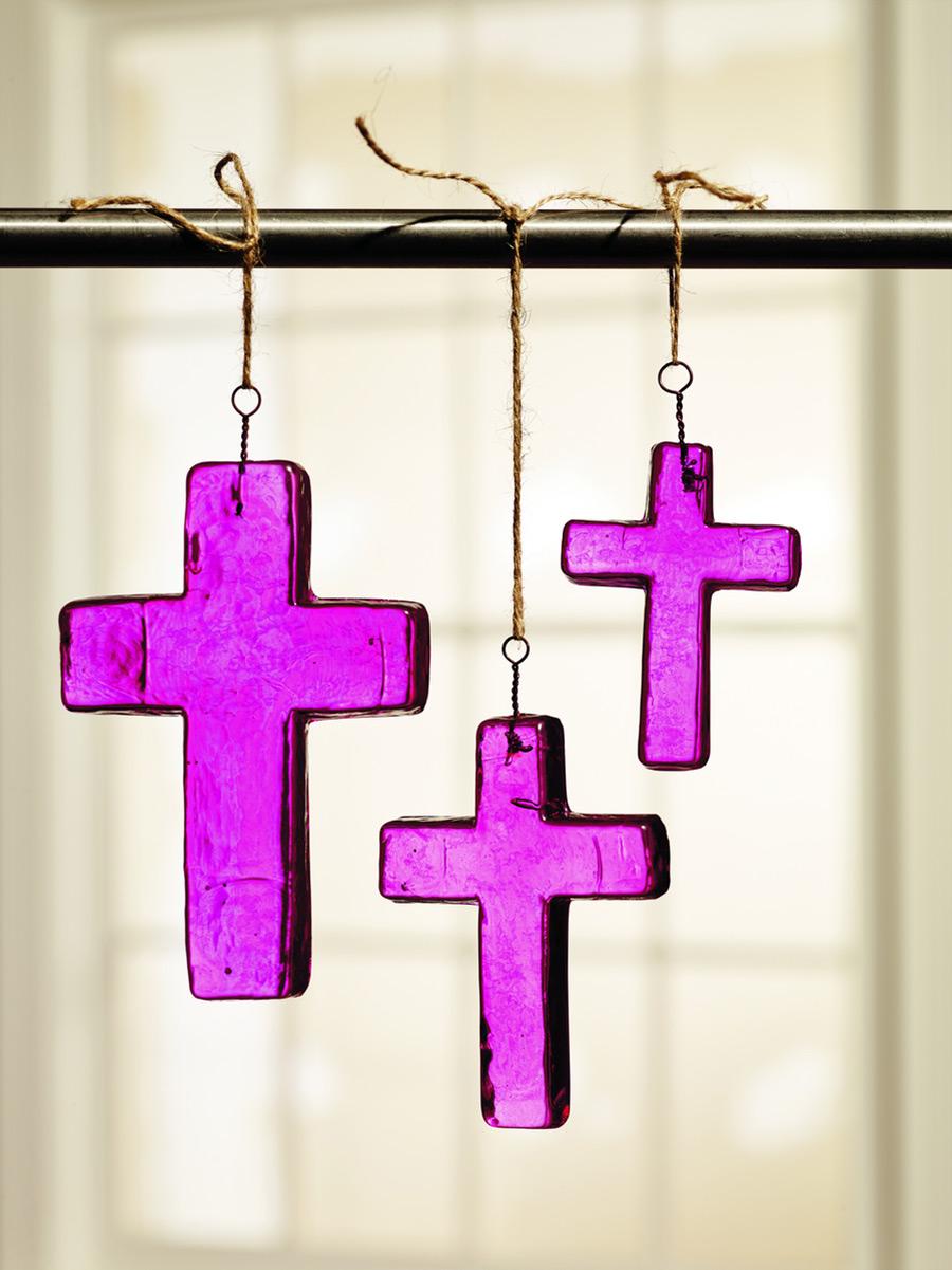 Dark Pink Glass Cross Ornaments