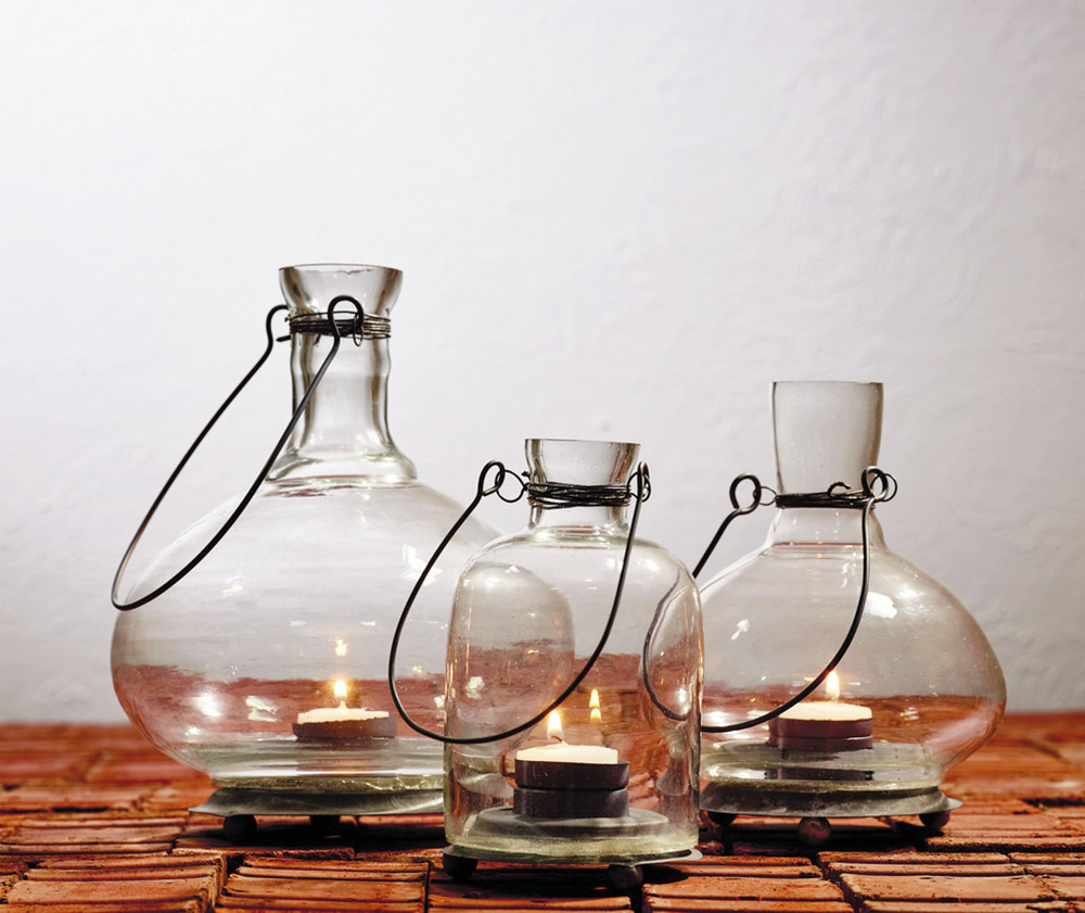 Glass Bottle Tealight Lanterns