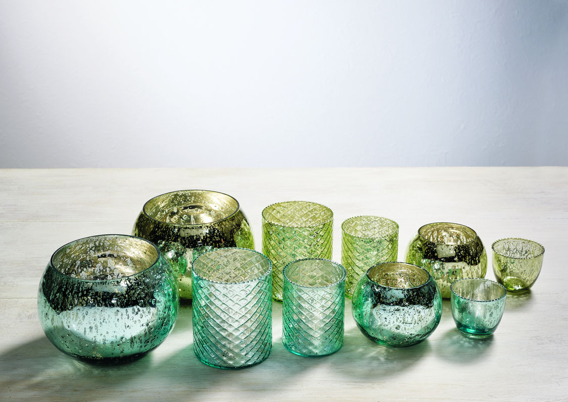 Blue & Green Mercury Glass Candle Holders