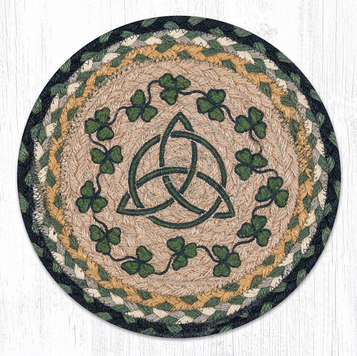Irish Shamrock Braided Round Tablemat