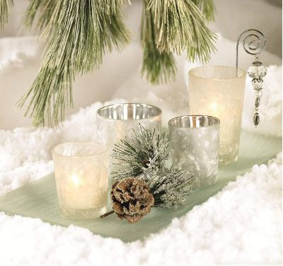 Silver and White Votive Scape Set, by Nutcracker Designs