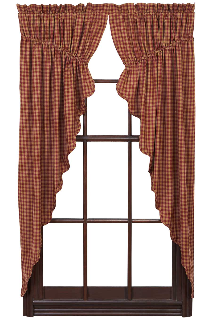 Ninepatch Star Prairie Curtain - 63 inch (Burgundy & Tan Check)