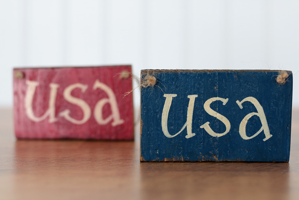 Blue Usa Small Wooden Sign By Our Backyard Studio In Mill