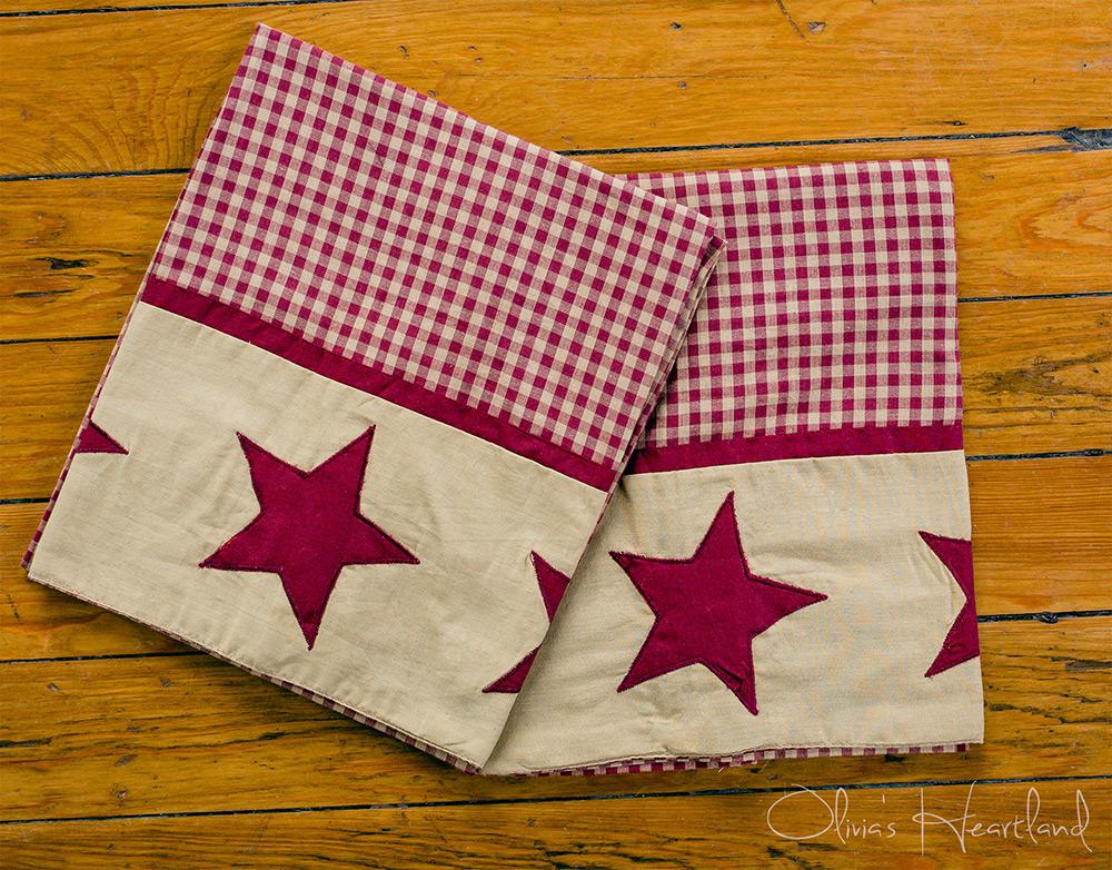 Jamestown Burgundy & Tan Standard Pillow Cases, by Olivia's Heartland