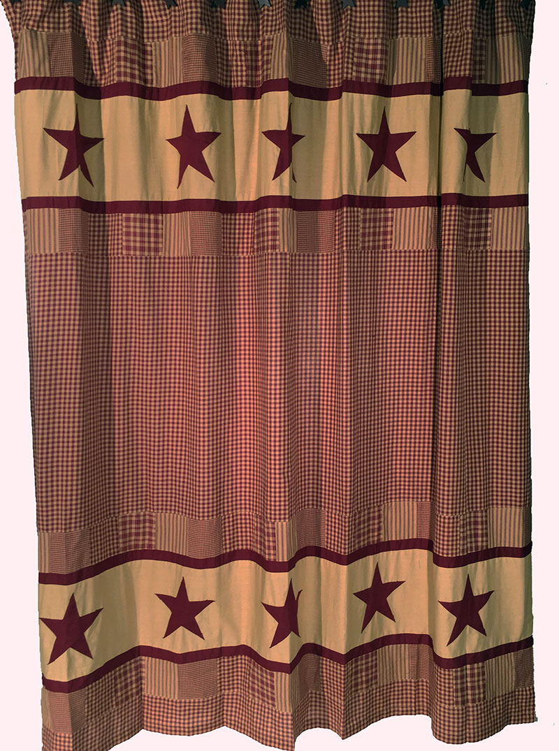 Burgundy Check Shower Curtain with Star Patch Border, by Olivia\'s ...