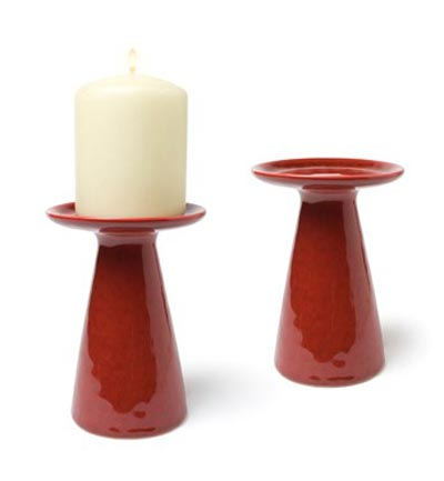 Red Stoneware Pillar Candle Holder, by Abbott