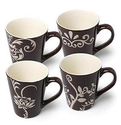 Brown Mug with Flower