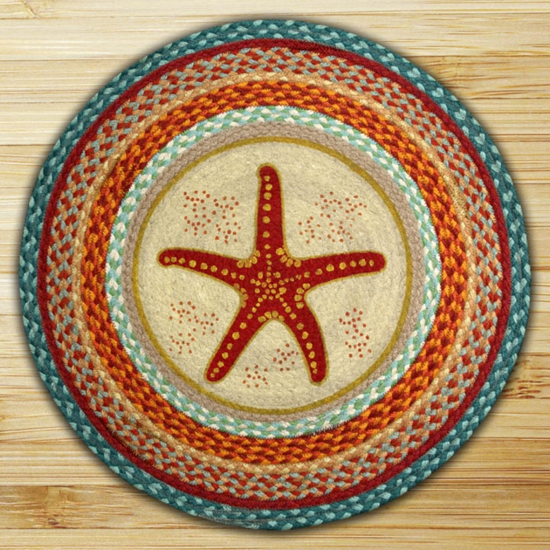 Star Fish Braided Jute Round Rug, By Capitol Earth Rugs