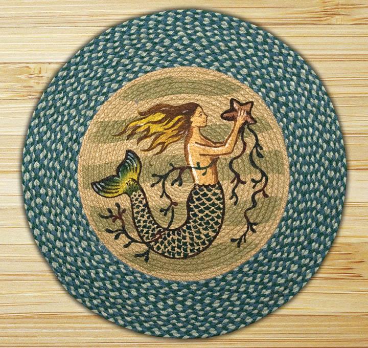 Used Oval Braided Rugs: Mermaid Braided Jute Round Rug, By Capitol Earth Rugs