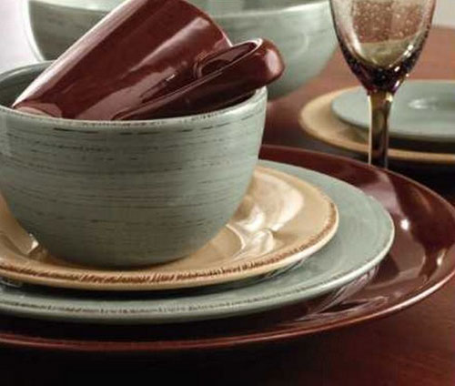 Sonoma Slate with Chocolate and Tan ... & Slate Blue Sonoma Dinner Plates by Tag Ltd - The Weed Patch