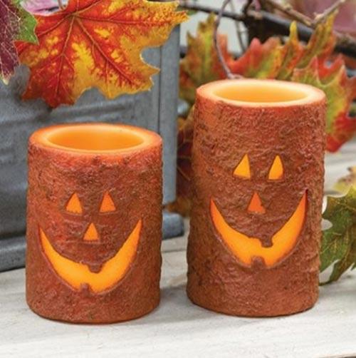 Jack O'Lantern Battery Pillar Candles