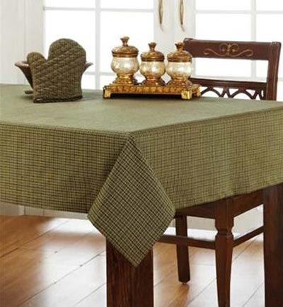 Tea Cabin Green Plaid Tablecloth, by Victorian Heart