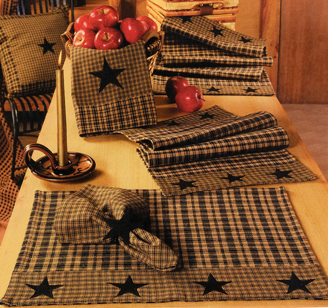 Vintage Star Black Placemats, by India Home Fashions