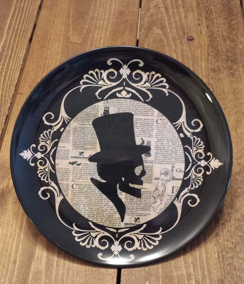 halloween silhouette melamine plate skull - Halloween Plates Ceramic