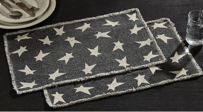 Primitive Black Star Placemats, by VHC Brands