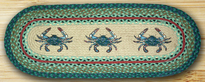 Blue Crab Oval Patch Runner, by Capitol Earth Rugs