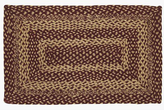 Burgundy and Tan Jute Rug, by Victorian Heart