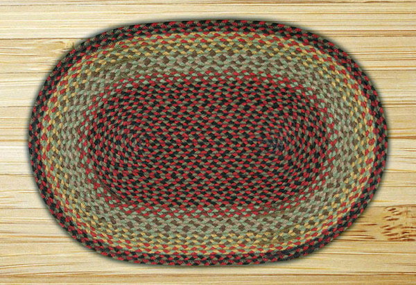 20 x 30 inch Burgundy, Black, and Sage Oval Jute Rug, by Capitol Earth Rugs.