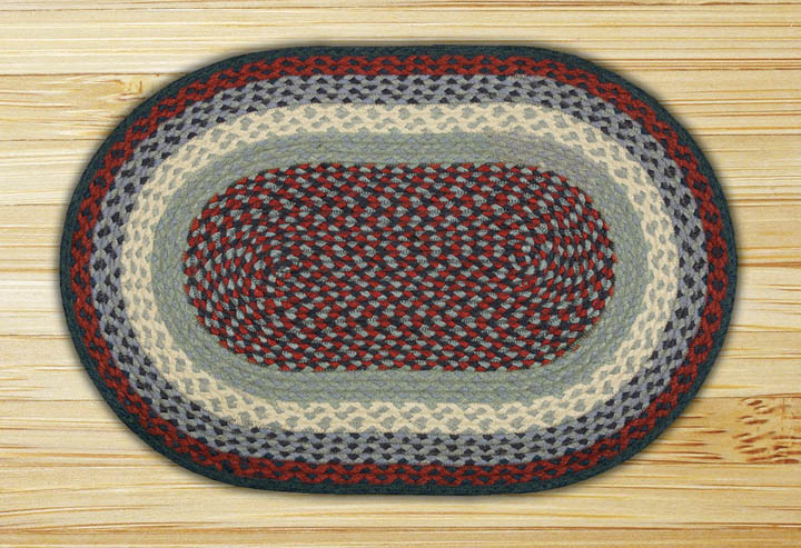Blue and Burgundy Oval Jute Rug, by Capitol Earth Rugs