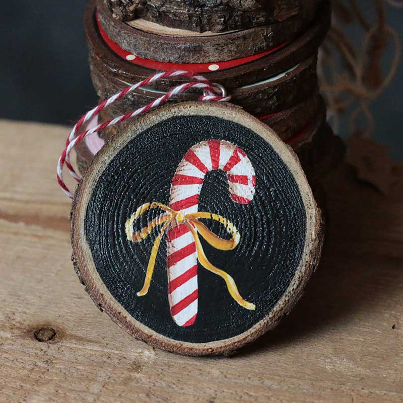 Candy Cane With Ribbon Hand Painted Wood Slice Ornament