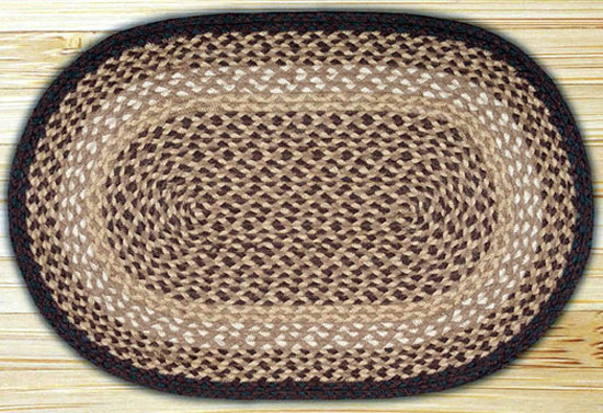 27 x 45 inch Chocolate & Natural OVAL Jute Rug, by Capitol Earth Rugs