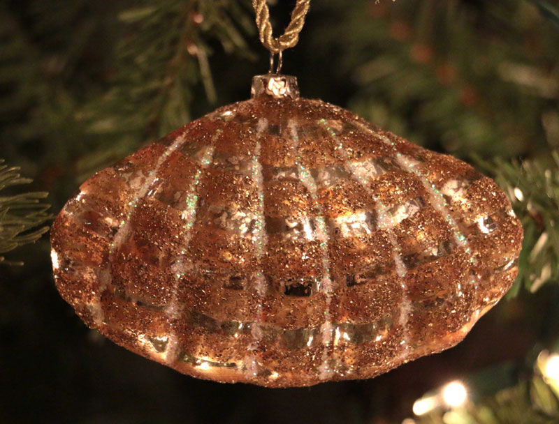 gold clam shell ornament  by cody foster