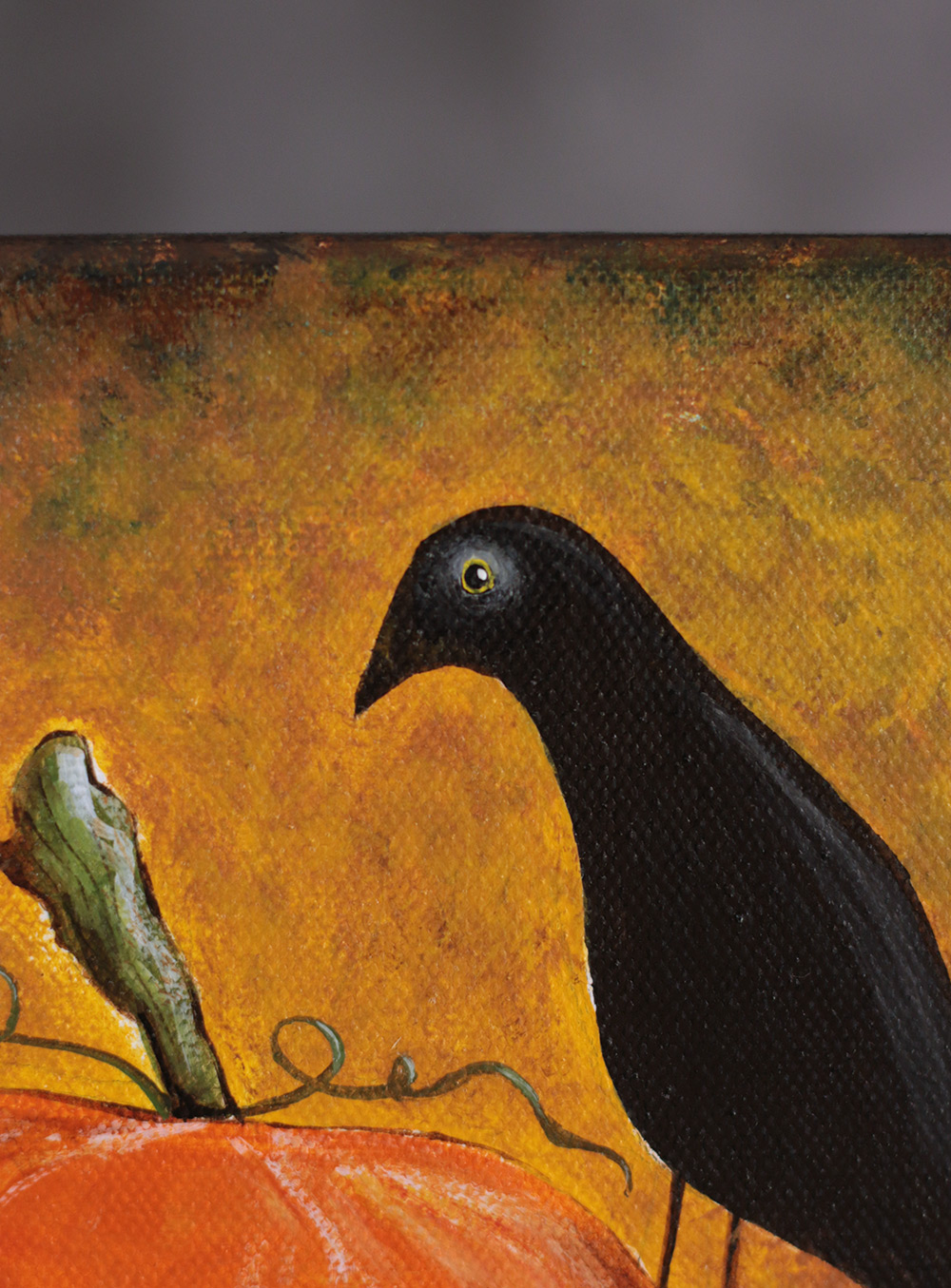 Pumpkin Trio With Crow Halloween Art Painting The Weed Patch