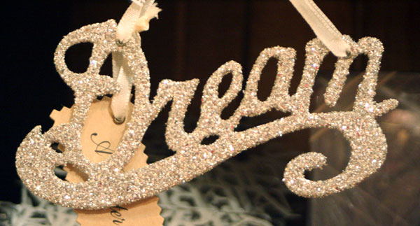 Silver Glitter Word Ornaments - Dream