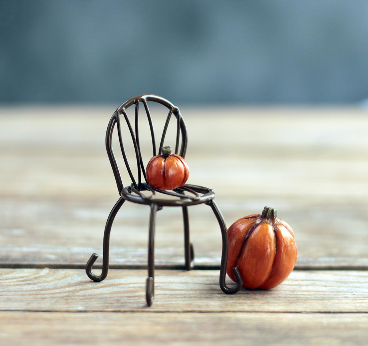 Small Miniature Pumpkin Figurine