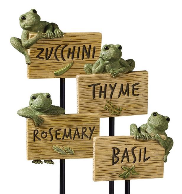 Herb/Vegetable Marker With Frog, By Grasslands Road.