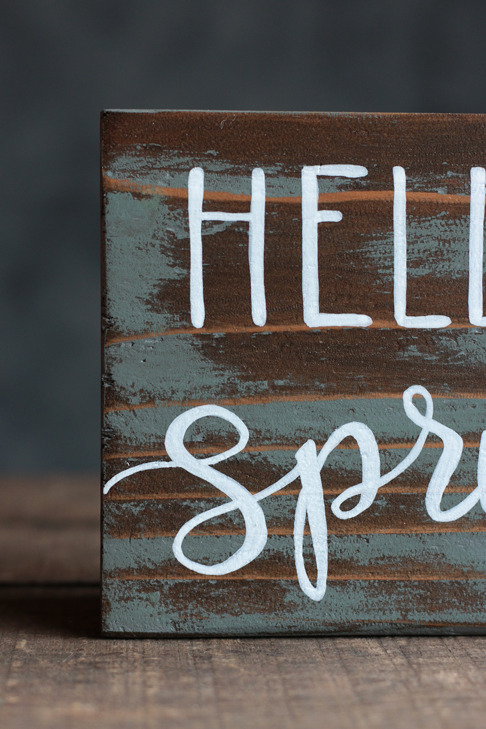Hello Spring Hand Lettered Wood Sign Hand Painted In The