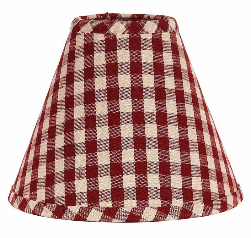 Heritage house check lamp shade in barn red by raghu