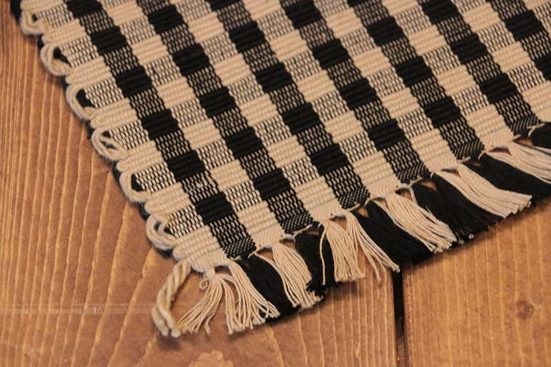 ... Heritage House Check Black Tablerunner, ...