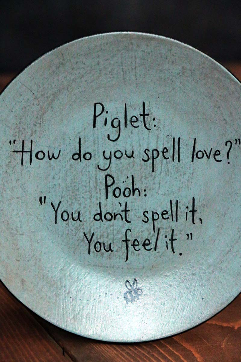 how do you spell love plate  by our backyard studios in mill creek  wa