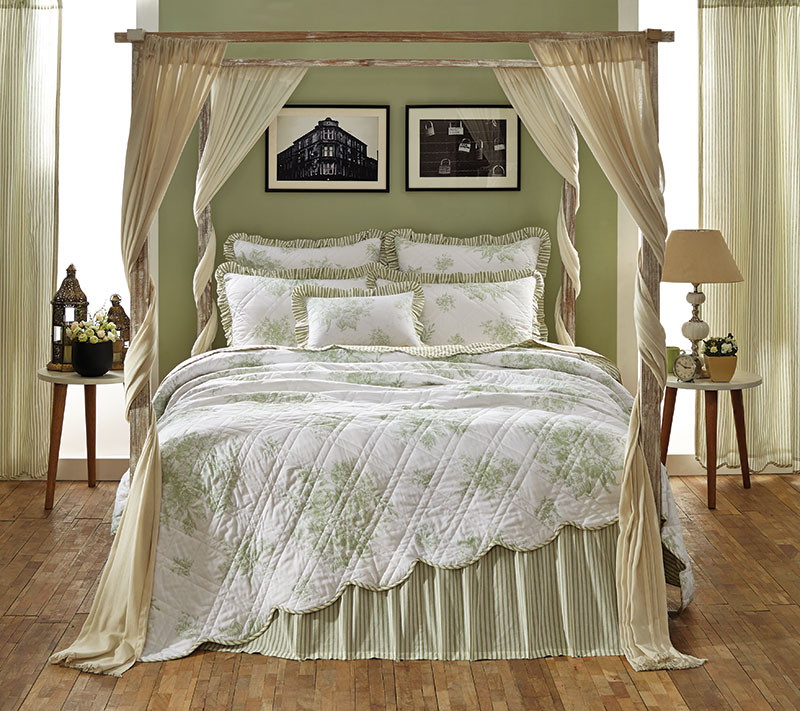 Josephine Sage Green Quilt, by VHC Brands.