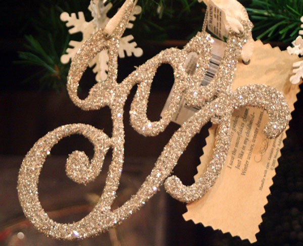 Silver Glitter Word Ornaments - Joy